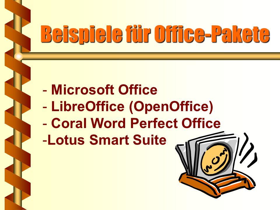 Office-Pakete Es handelt sich um Programmpakete, die alle wichtigen Programme für den Büroeinsatz beinhalten, z.B.: Textverarbeitung Tabellenkalkulati
