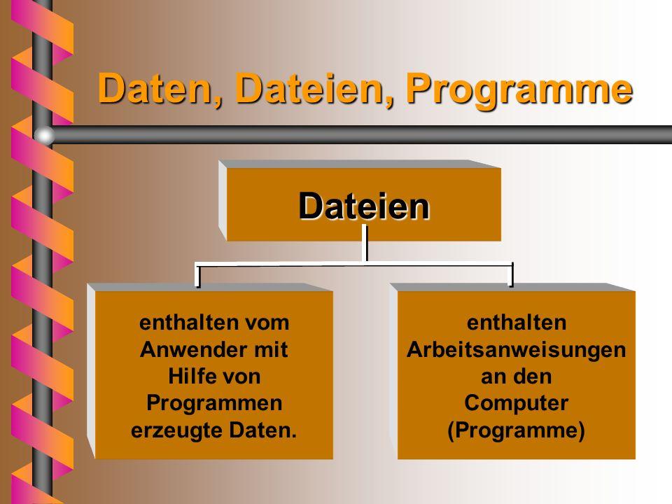 Daten, Dateien, Programme Dateien enthalten vom Anwender mit Hilfe von Programmen erzeugte Daten.