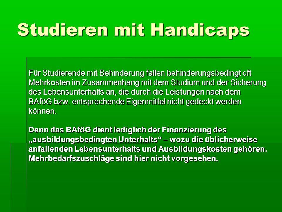 Studieren mit Handicaps 1.Besonderheiten beim BAföG 2.Finanzierung des behinderungsbedingten Mehrbedarfs 3.Stipendien und Stiftungen 4.Soziale Beratungsdienste