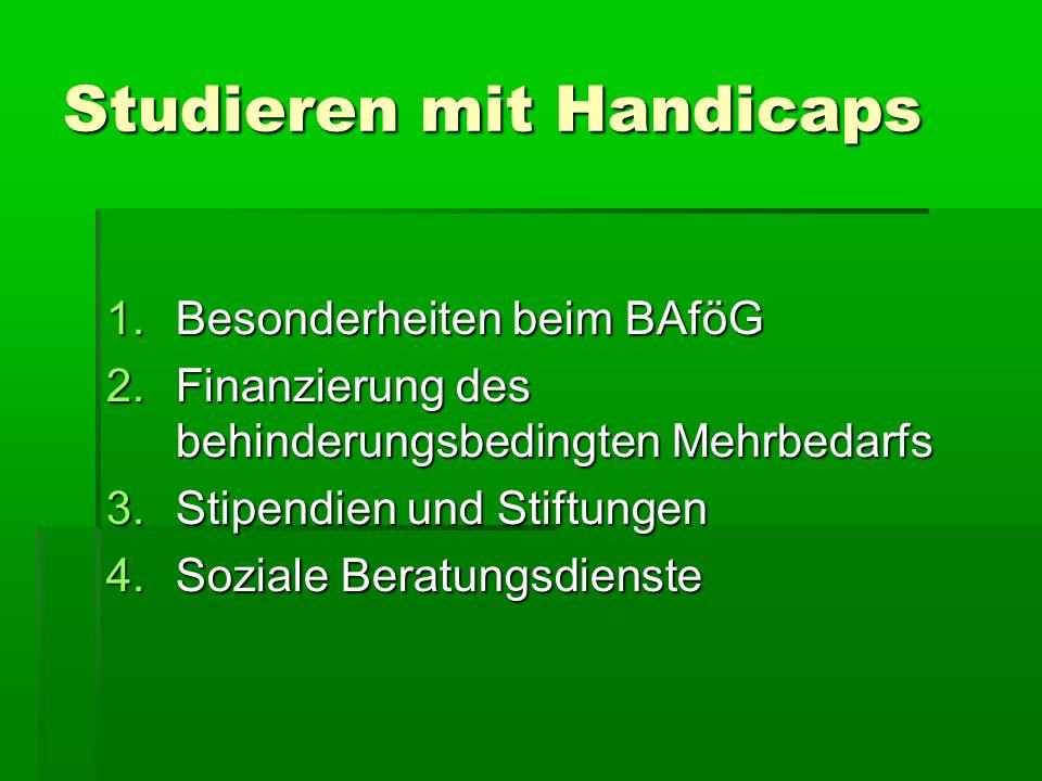 Studieren mit Handicaps 1.Besonderheiten beim BAföG 2.Finanzierung des behinderungsbedingten Mehrbedarfs 3.Stipendien und Stiftungen 4.Soziale Beratun