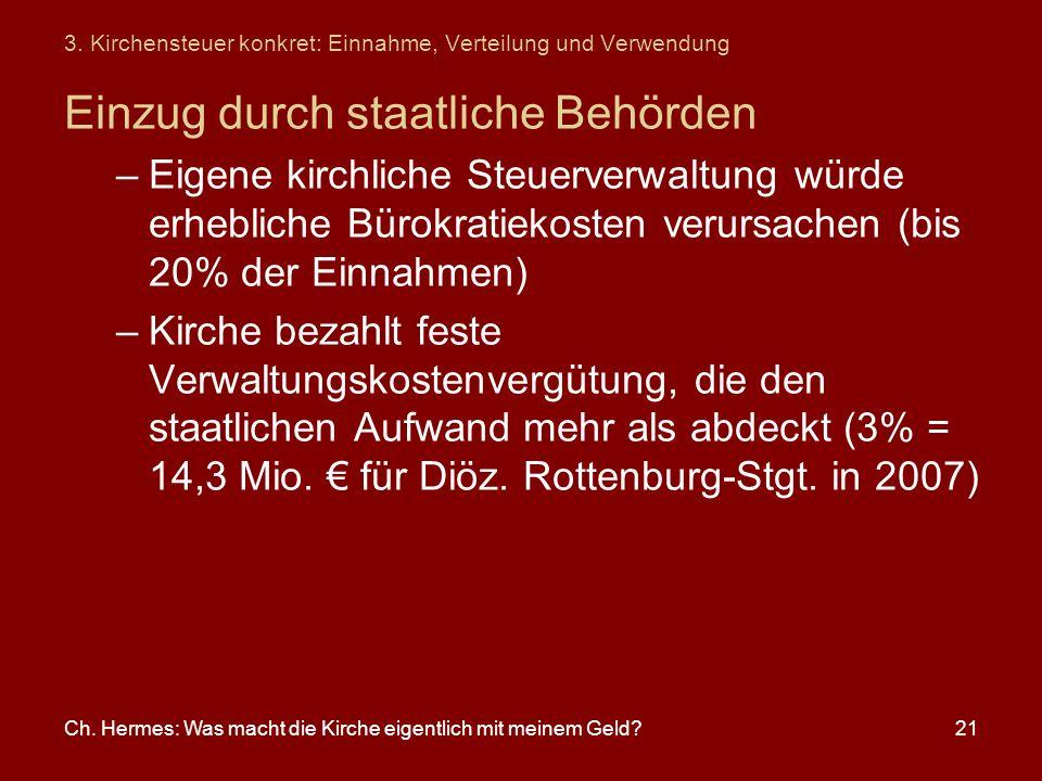 Ch. Hermes: Was macht die Kirche eigentlich mit meinem Geld?21 3. Kirchensteuer konkret: Einnahme, Verteilung und Verwendung Einzug durch staatliche B