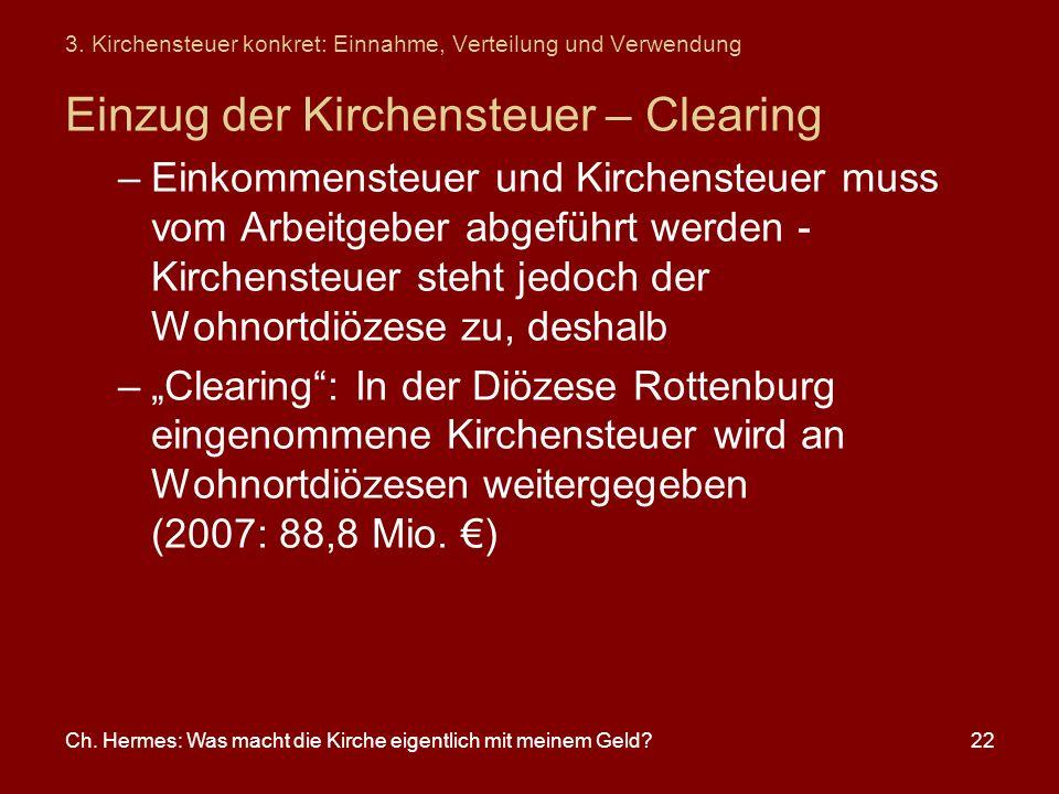 Ch. Hermes: Was macht die Kirche eigentlich mit meinem Geld?22 3. Kirchensteuer konkret: Einnahme, Verteilung und Verwendung Einzug der Kirchensteuer