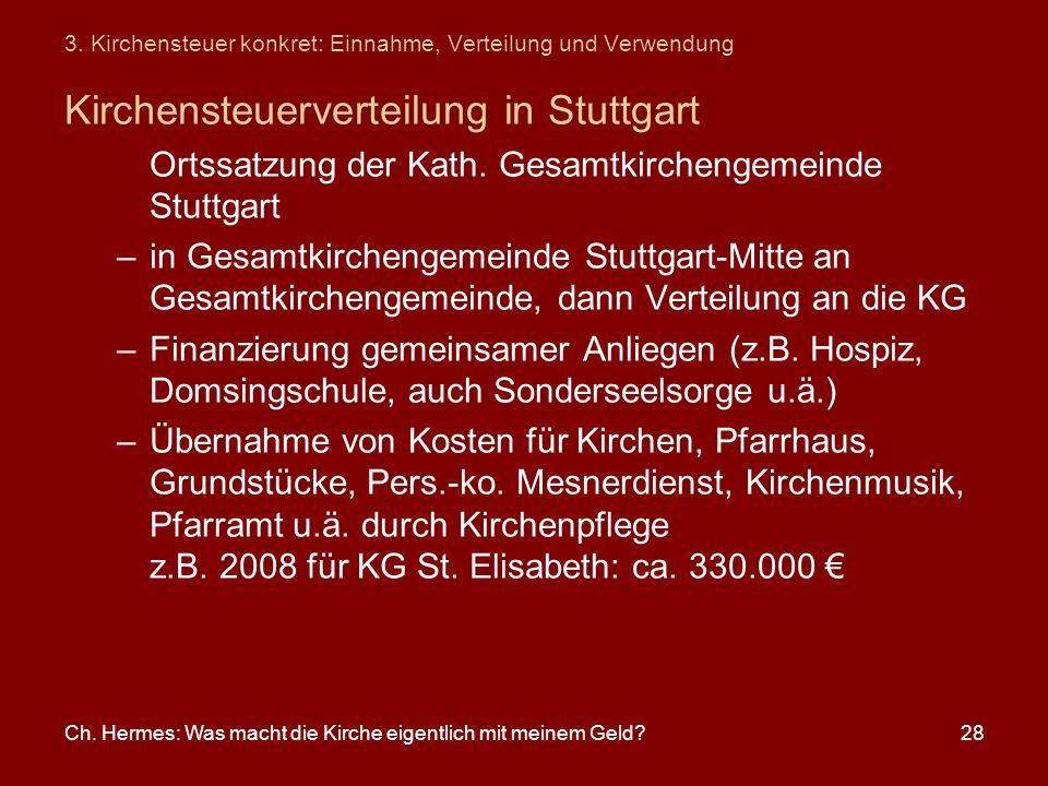 Ch. Hermes: Was macht die Kirche eigentlich mit meinem Geld?28 Kirchensteuerverteilung in Stuttgart Ortssatzung der Kath. Gesamtkirchengemeinde Stuttg