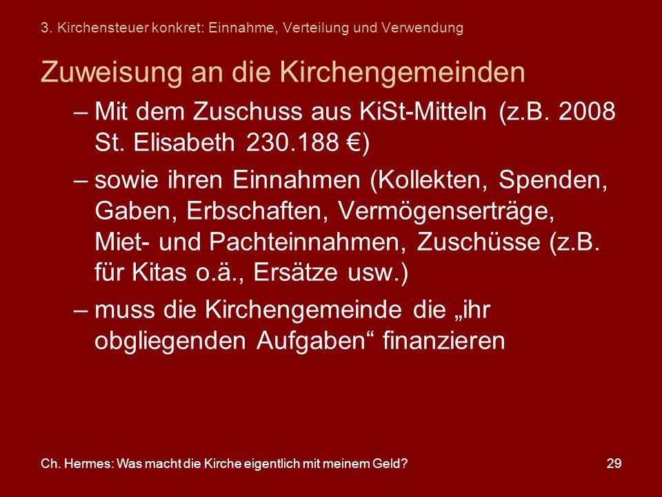 Ch. Hermes: Was macht die Kirche eigentlich mit meinem Geld?29 3. Kirchensteuer konkret: Einnahme, Verteilung und Verwendung Zuweisung an die Kircheng