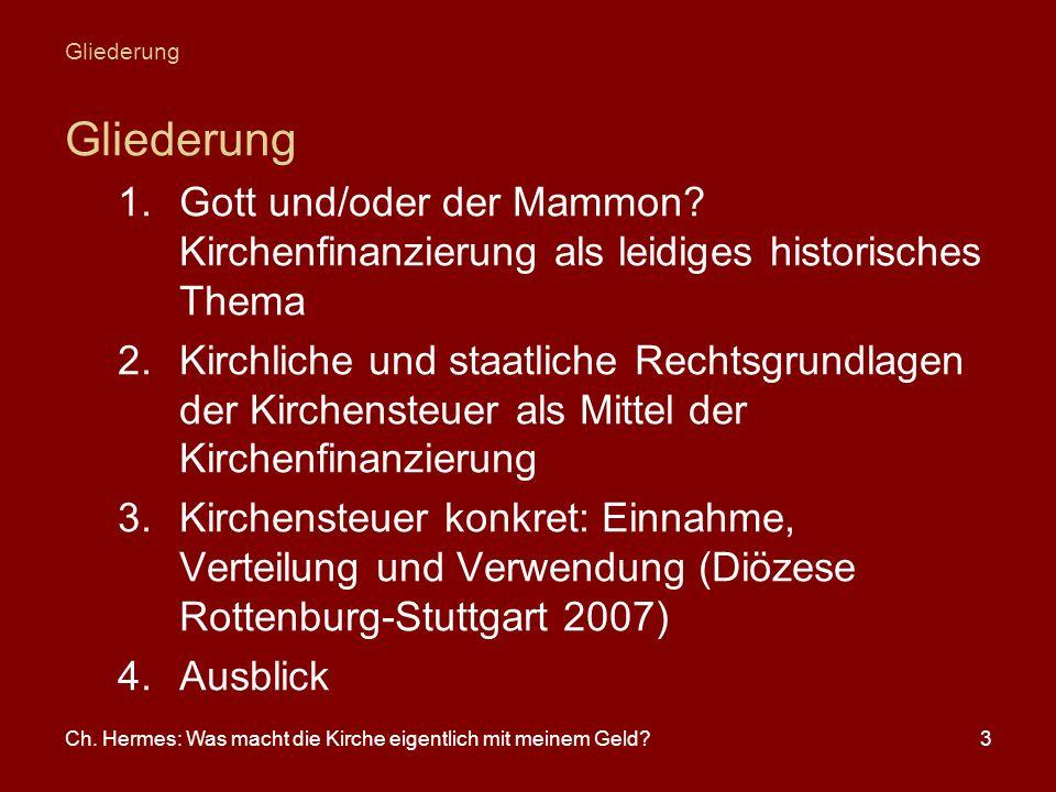 Ch. Hermes: Was macht die Kirche eigentlich mit meinem Geld?3 Gliederung 1.Gott und/oder der Mammon? Kirchenfinanzierung als leidiges historisches The