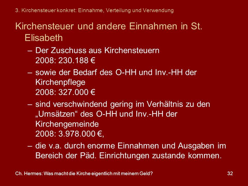 Ch. Hermes: Was macht die Kirche eigentlich mit meinem Geld?32 3. Kirchensteuer konkret: Einnahme, Verteilung und Verwendung Kirchensteuer und andere