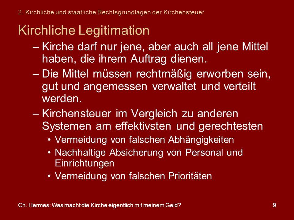 Ch. Hermes: Was macht die Kirche eigentlich mit meinem Geld?9 2. Kirchliche und staatliche Rechtsgrundlagen der Kirchensteuer Kirchliche Legitimation
