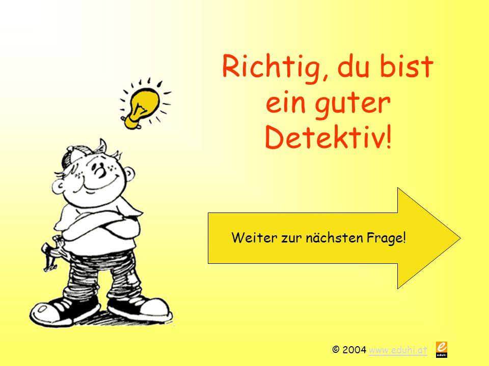 © 2004 www.eduhi.atwww.eduhi.at Richtig, du bist ein guter Detektiv! Weiter zur nächsten Frage!