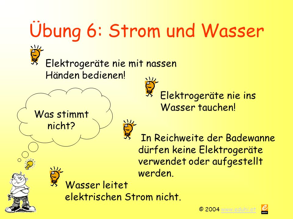 © 2004 www.eduhi.atwww.eduhi.at Übung 6: Strom und Wasser Was stimmt nicht.