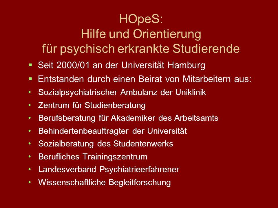 HOpeS: Hilfe und Orientierung für psychisch erkrankte Studierende Seit 2000/01 an der Universität Hamburg Entstanden durch einen Beirat von Mitarbeite