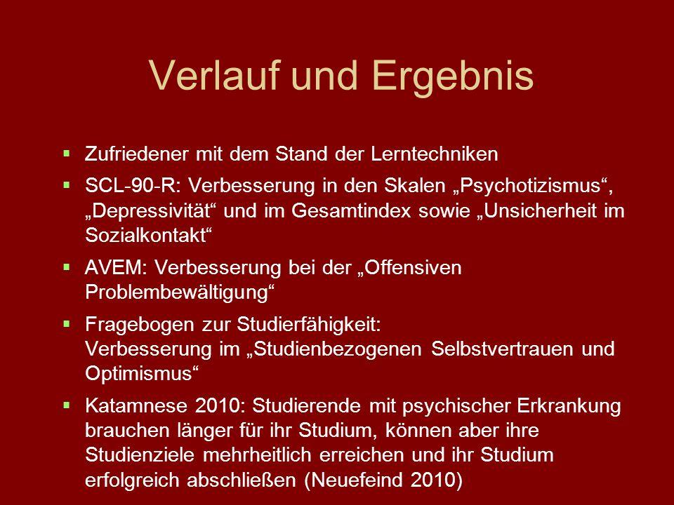 Verlauf und Ergebnis Zufriedener mit dem Stand der Lerntechniken SCL-90-R: Verbesserung in den Skalen Psychotizismus, Depressivität und im Gesamtindex