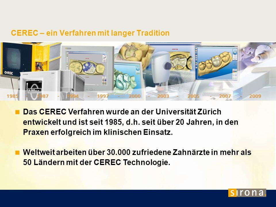CEREC – ein Verfahren mit langer Tradition Das CEREC Verfahren wurde an der Universität Zürich entwickelt und ist seit 1985, d.h. seit über 20 Jahren,