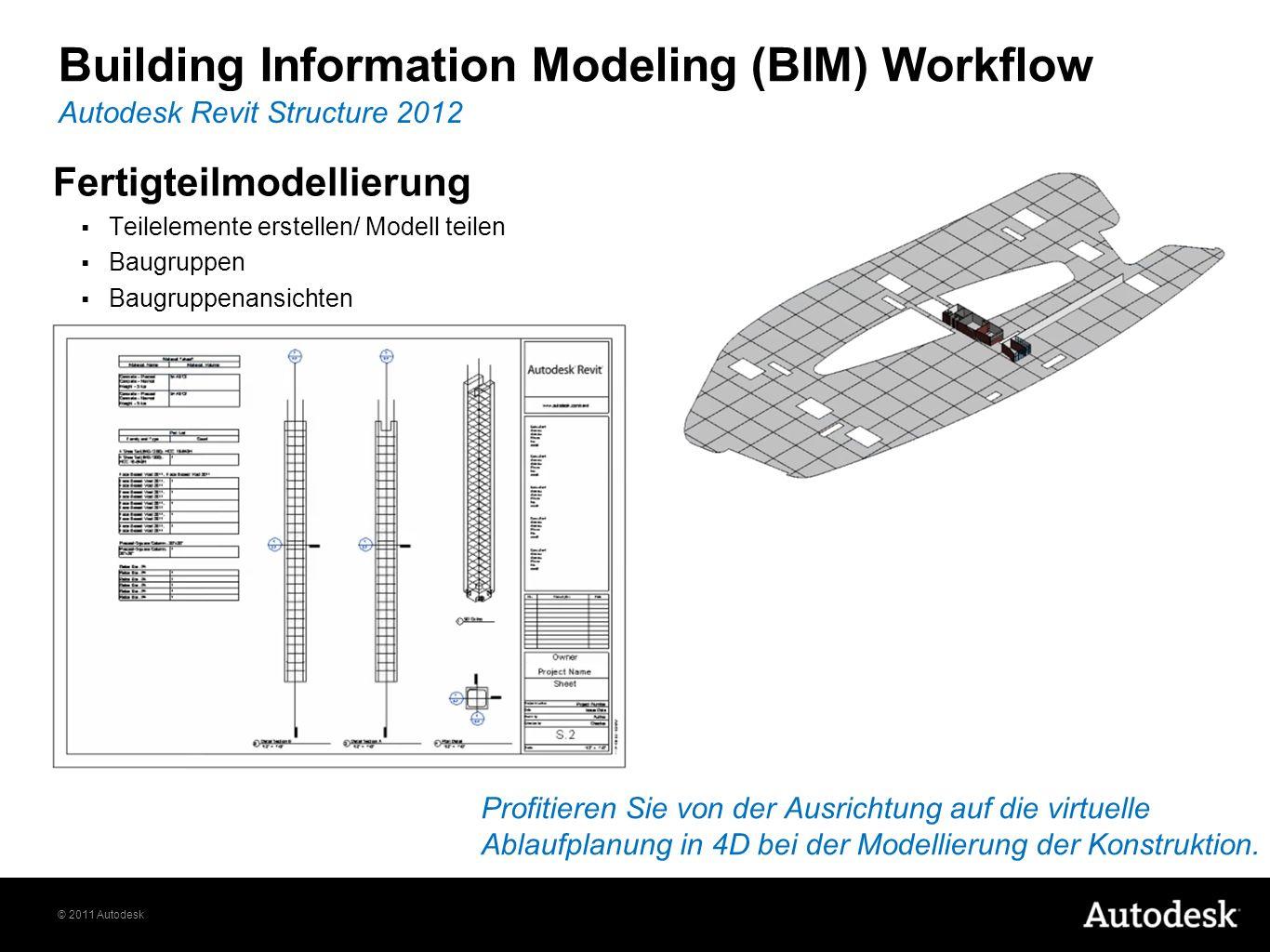 © 2011 Autodesk Fertigteilmodellierung Teilelemente erstellen/ Modell teilen Baugruppen Baugruppenansichten Autodesk Revit Structure 2012 Building Information Modeling (BIM) Workflow Profitieren Sie von der Ausrichtung auf die virtuelle Ablaufplanung in 4D bei der Modellierung der Konstruktion.