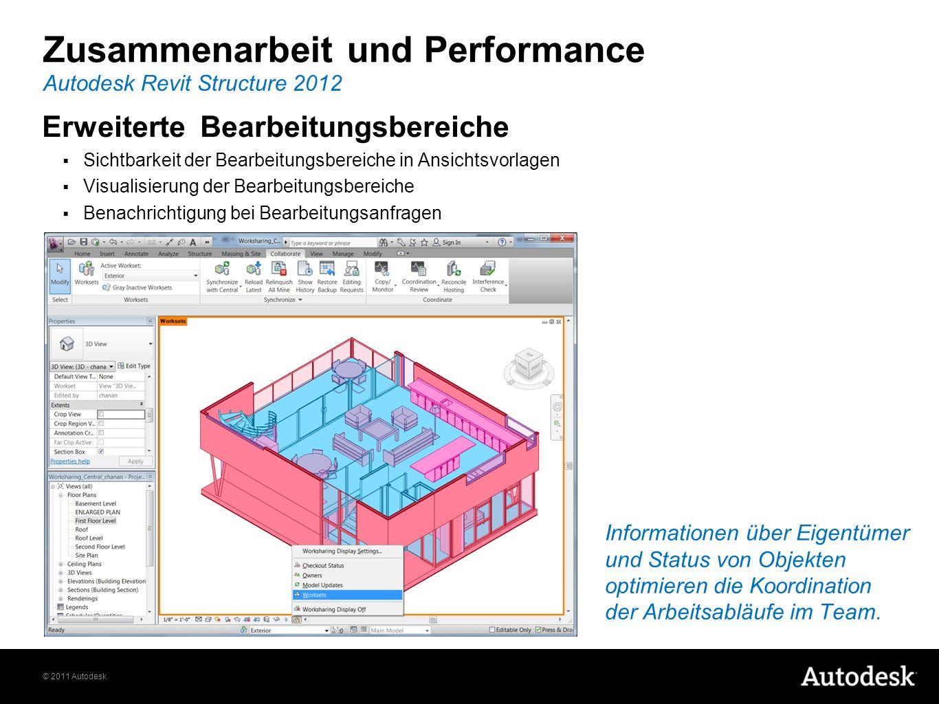 © 2011 Autodesk Erweiterte Bearbeitungsbereiche Sichtbarkeit der Bearbeitungsbereiche in Ansichtsvorlagen Visualisierung der Bearbeitungsbereiche Bena