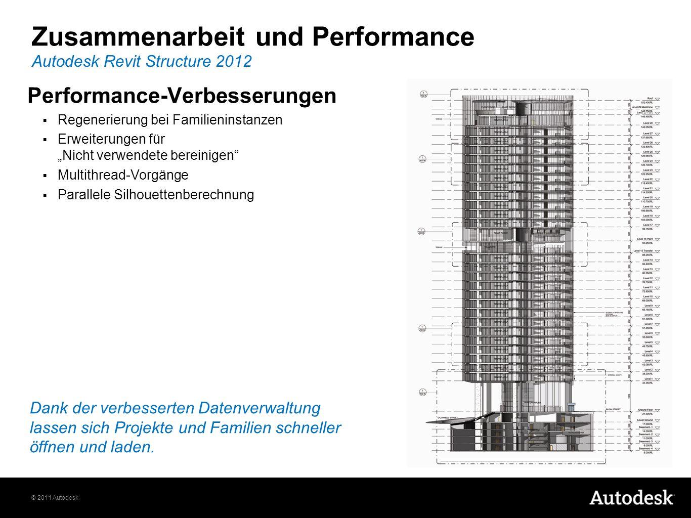 © 2011 Autodesk Zusammenarbeit und Performance Autodesk Revit Structure 2012 Performance-Verbesserungen Regenerierung bei Familieninstanzen Erweiterun