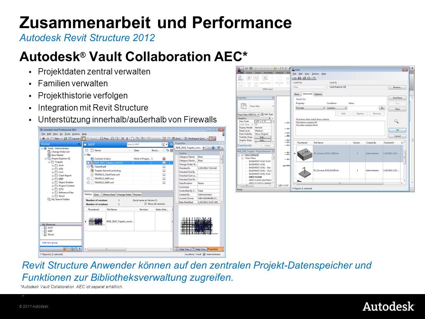 © 2011 Autodesk Zusammenarbeit und Performance Autodesk Revit Structure 2012 *Autodesk Vault Collaboration AEC ist separat erhältlich. Revit Structure