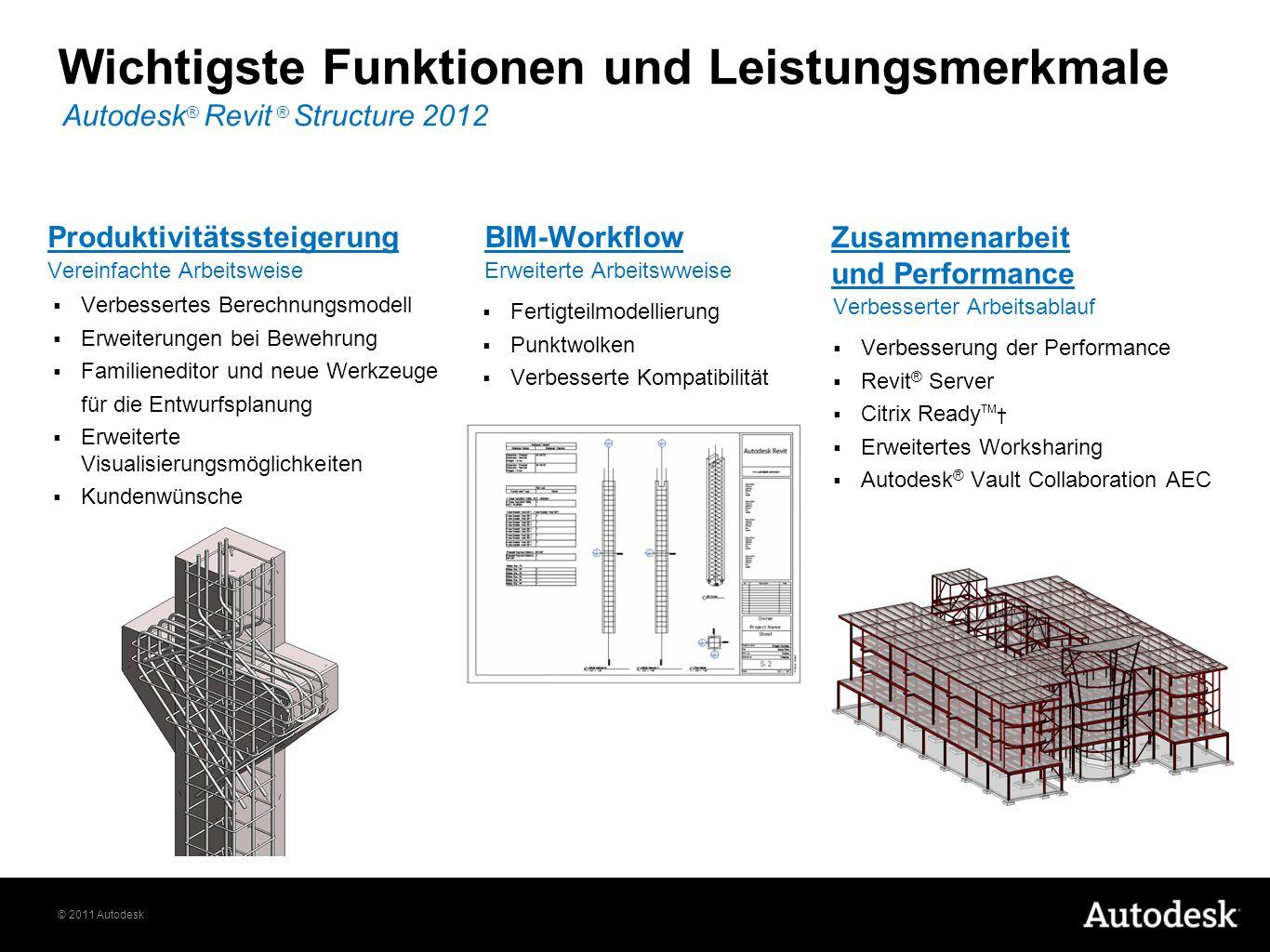 © 2011 Autodesk Wichtigste Funktionen und Leistungsmerkmale Autodesk ® Revit ® Structure 2012 Verbessertes Berechnungsmodell Erweiterungen bei Bewehru