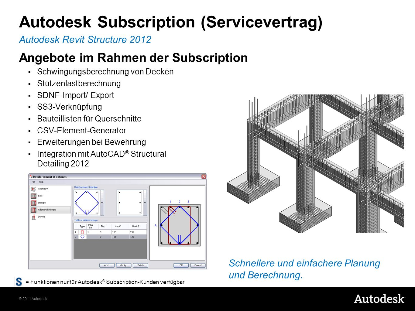 © 2011 Autodesk Autodesk Subscription (Servicevertrag) Angebote im Rahmen der Subscription Schwingungsberechnung von Decken Stützenlastberechnung SDNF