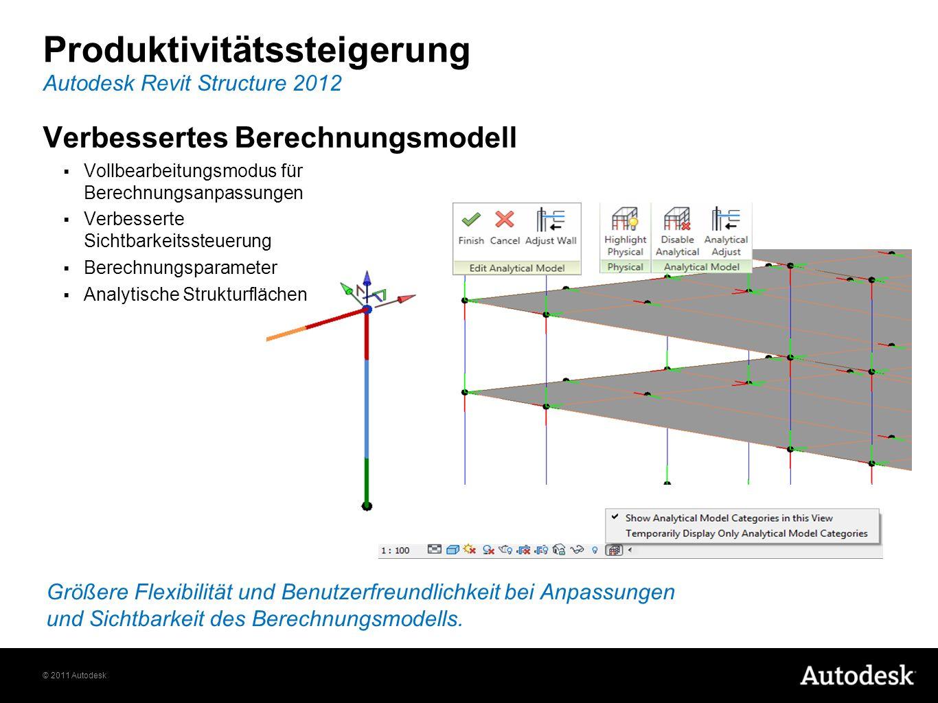 © 2011 Autodesk Produktivitätssteigerung Verbessertes Berechnungsmodell Vollbearbeitungsmodus für Berechnungsanpassungen Verbesserte Sichtbarkeitssteu