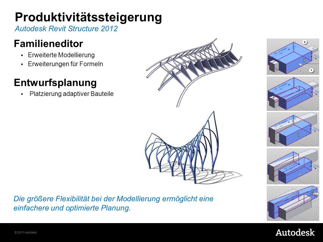 © 2011 Autodesk Autodesk Revit Structure 2012 Produktivitätssteigerung Die größere Flexibilität bei der Modellierung ermöglicht eine einfachere und op