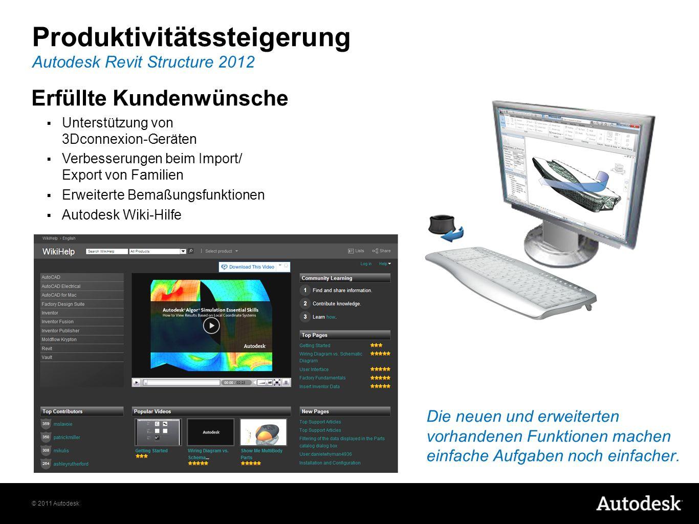 © 2011 Autodesk Produktivitätssteigerung Erfüllte Kundenwünsche Unterstützung von 3Dconnexion-Geräten Verbesserungen beim Import/ Export von Familien