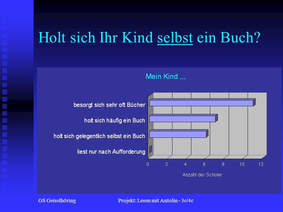 GS GeiselhöringProjekt: Lesen mit Antolin - 3c/4c Holt sich Ihr Kind selbst ein Buch?