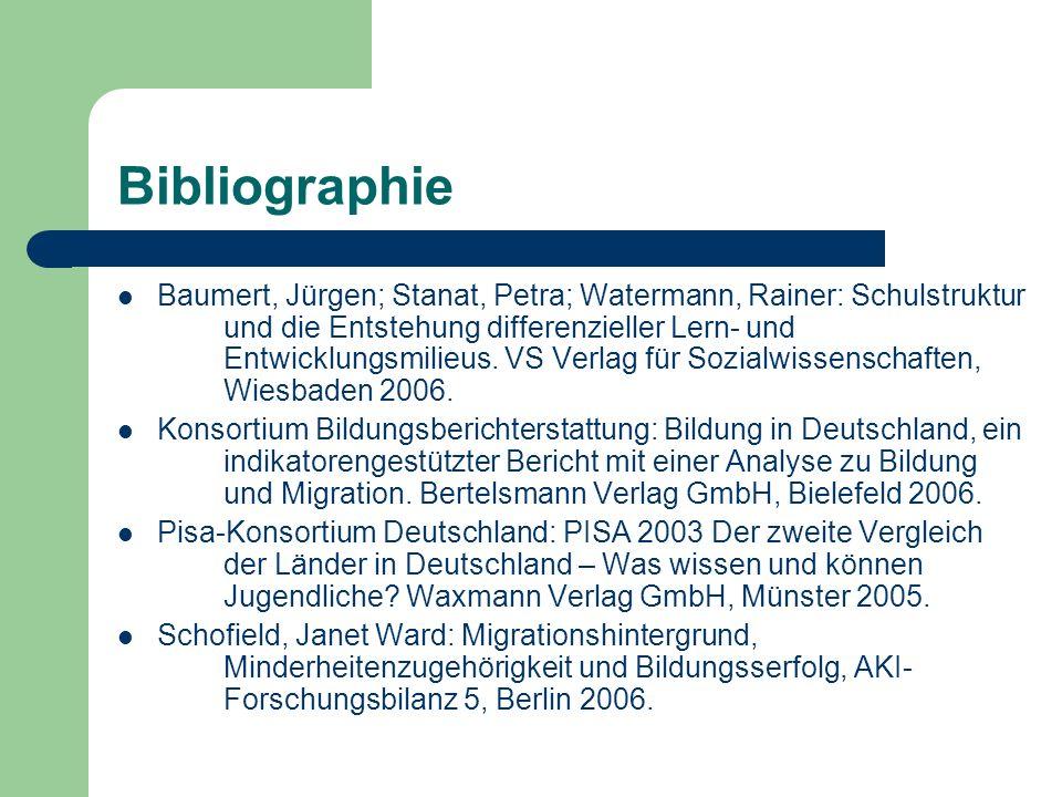Bibliographie Baumert, Jürgen; Stanat, Petra; Watermann, Rainer: Schulstruktur und die Entstehung differenzieller Lern- und Entwicklungsmilieus. VS Ve