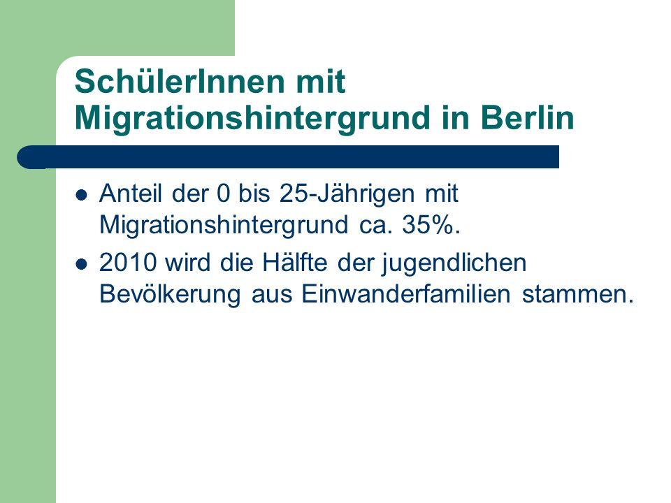 SchülerInnen mit Migrationshintergrund in Berlin Anteil der 0 bis 25-Jährigen mit Migrationshintergrund ca. 35%. 2010 wird die Hälfte der jugendlichen