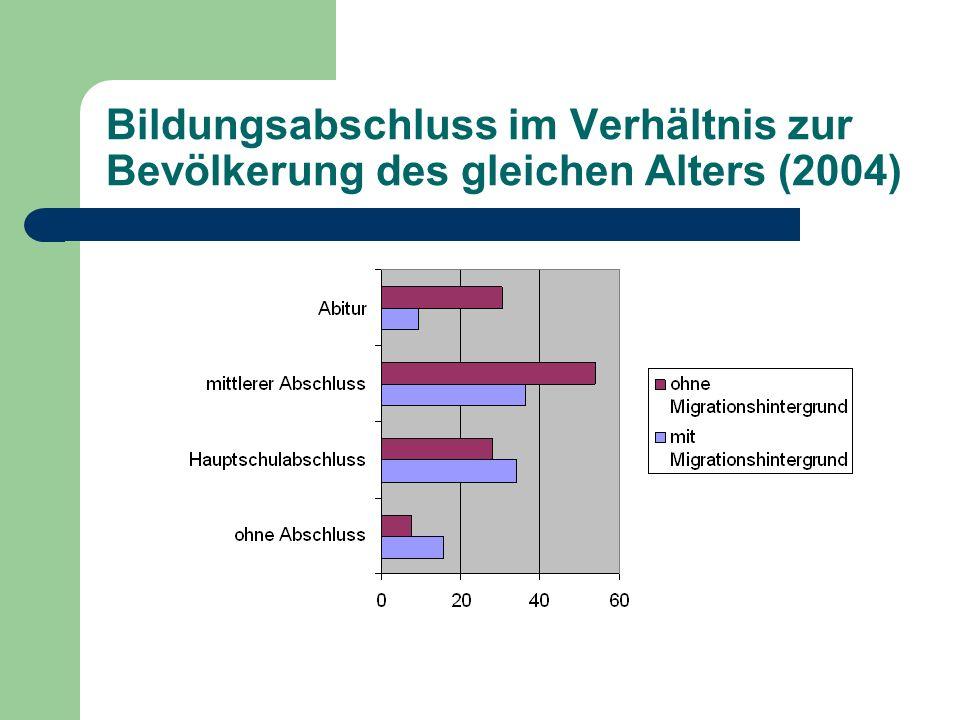 Bildungsabschluss im Verhältnis zur Bevölkerung des gleichen Alters (2004)