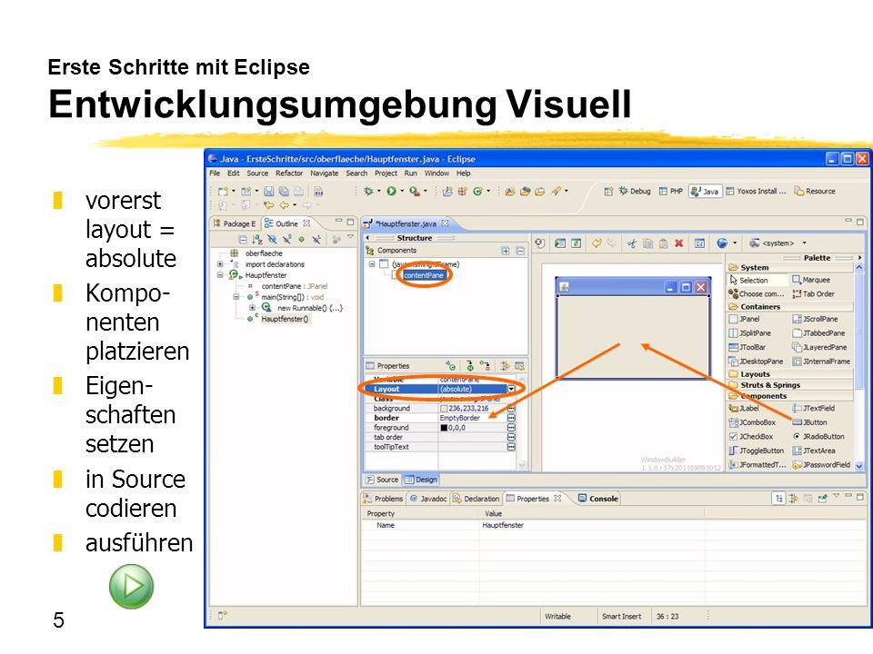 5 Erste Schritte mit Eclipse Entwicklungsumgebung Visuell zvorerst layout = absolute zKompo- nenten platzieren zEigen- schaften setzen zin Source codi