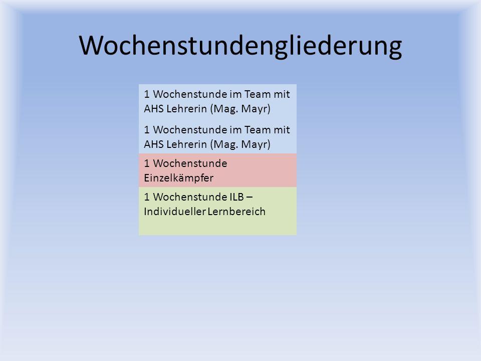 Wochenstundengliederung 1 Wochenstunde im Team mit AHS Lehrerin (Mag. Mayr) 1 Wochenstunde Einzelkämpfer 1 Wochenstunde ILB – Individueller Lernbereic