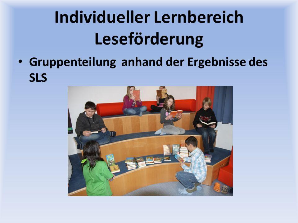 Individueller Lernbereich Leseförderung Gruppenteilung anhand der Ergebnisse des SLS
