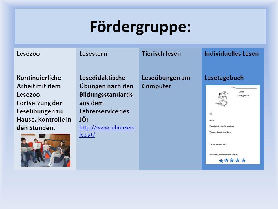 Fördergruppe: LesezooLesesternTierisch lesenIndividuelles Lesen Kontinuierliche Arbeit mit dem Lesezoo. Fortsetzung der Leseübungen zu Hause. Kontroll