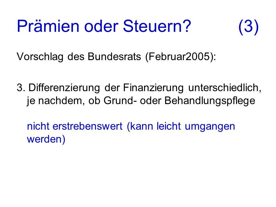 Prämien oder Steuern. (3) Vorschlag des Bundesrats (Februar2005): 3.