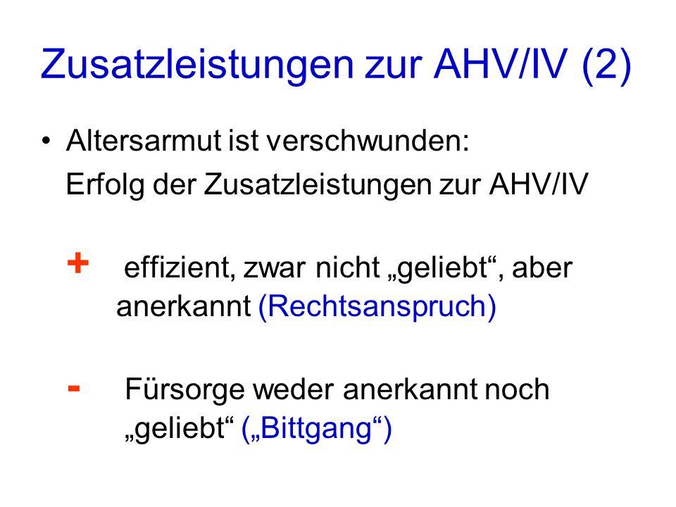 Zusatzleistungen zur AHV/IV (2) Altersarmut ist verschwunden: Erfolg der Zusatzleistungen zur AHV/IV + effizient, zwar nicht geliebt, aber anerkannt (Rechtsanspruch) - Fürsorge weder anerkannt noch geliebt (Bittgang)
