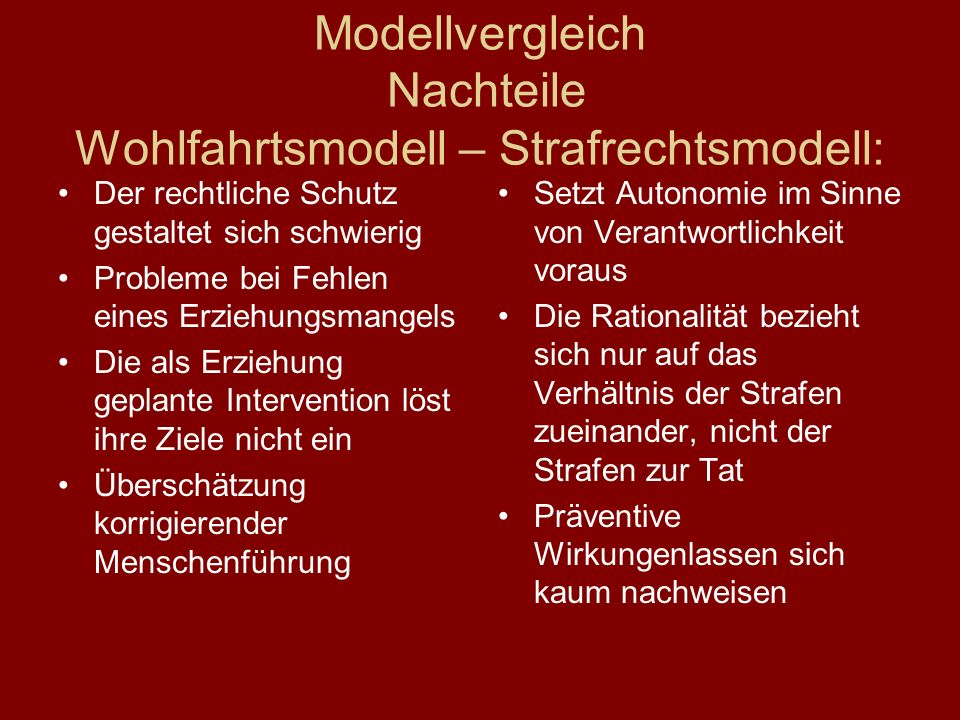 Modellvergleich Nachteile Wohlfahrtsmodell – Strafrechtsmodell: Der rechtliche Schutz gestaltet sich schwierig Probleme bei Fehlen eines Erziehungsman