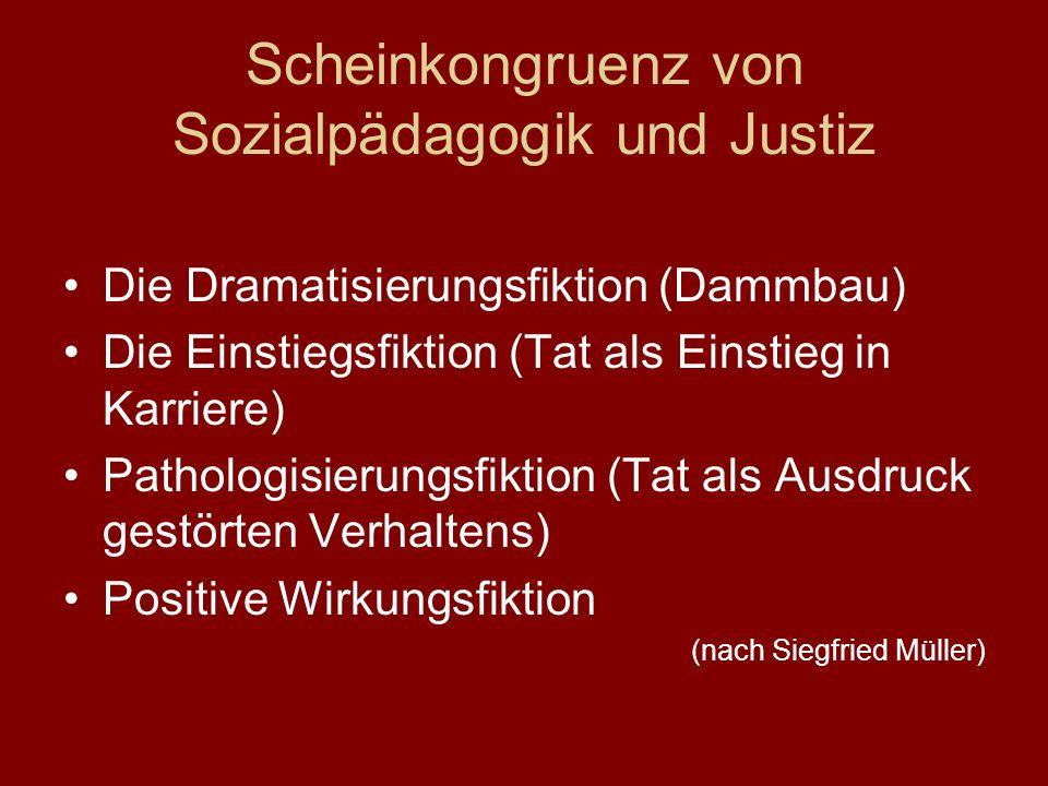 Scheinkongruenz von Sozialpädagogik und Justiz Die Dramatisierungsfiktion (Dammbau) Die Einstiegsfiktion (Tat als Einstieg in Karriere) Pathologisieru