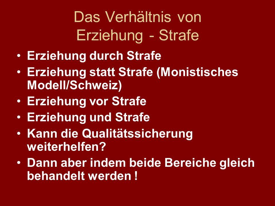 Das Verhältnis von Erziehung - Strafe Erziehung durch Strafe Erziehung statt Strafe (Monistisches Modell/Schweiz) Erziehung vor Strafe Erziehung und S