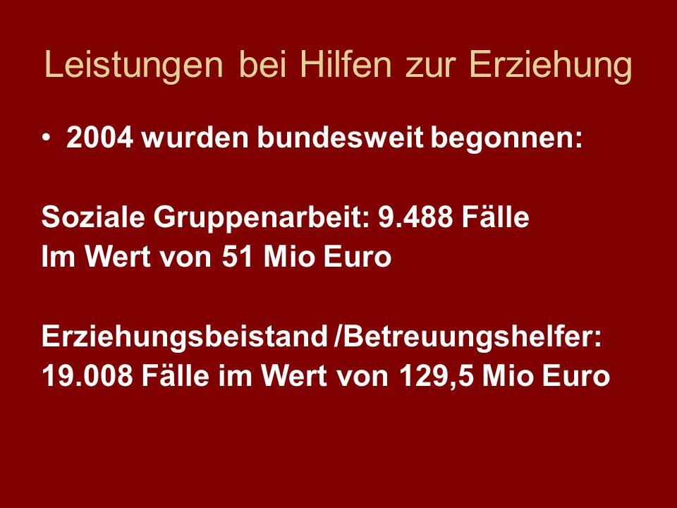 Leistungen bei Hilfen zur Erziehung 2004 wurden bundesweit begonnen: Soziale Gruppenarbeit: 9.488 Fälle Im Wert von 51 Mio Euro Erziehungsbeistand /Be