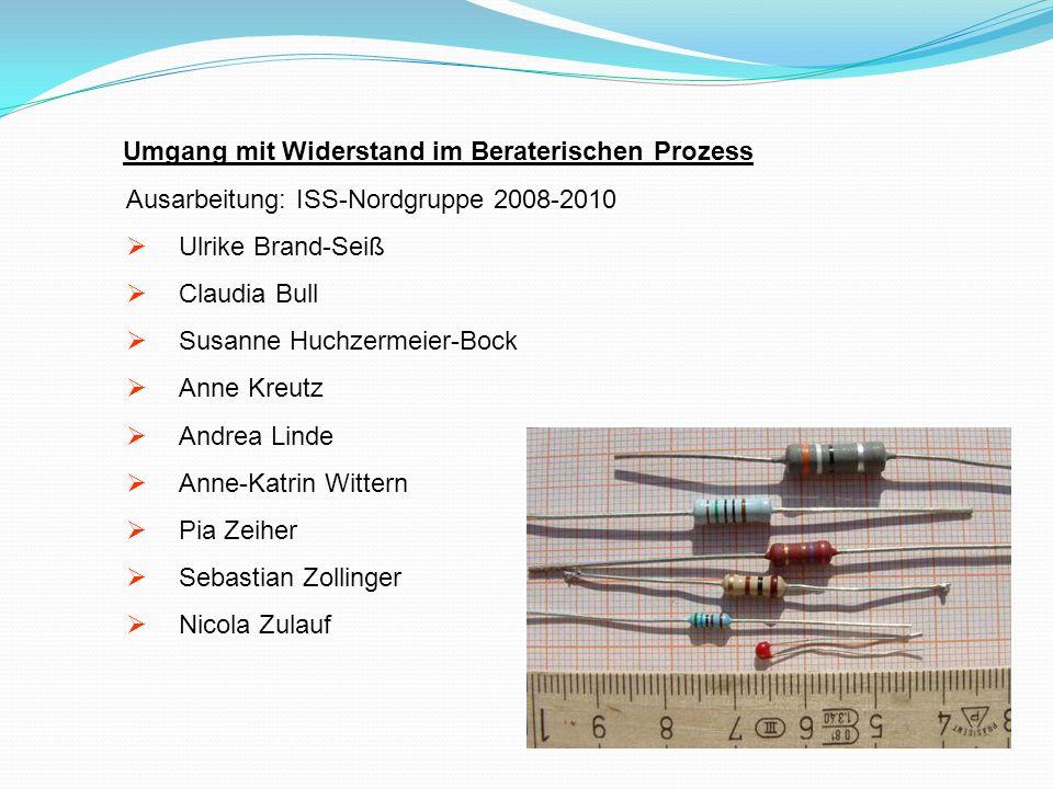 Umgang mit Widerstand im Beraterischen Prozess Ausarbeitung: ISS-Nordgruppe 2008-2010 Ulrike Brand-Seiß Claudia Bull Susanne Huchzermeier-Bock Anne Kr