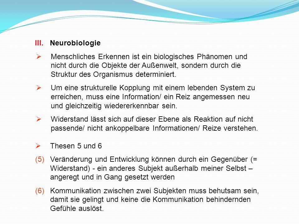 III.Neurobiologie Menschliches Erkennen ist ein biologisches Phänomen und nicht durch die Objekte der Außenwelt, sondern durch die Struktur des Organi