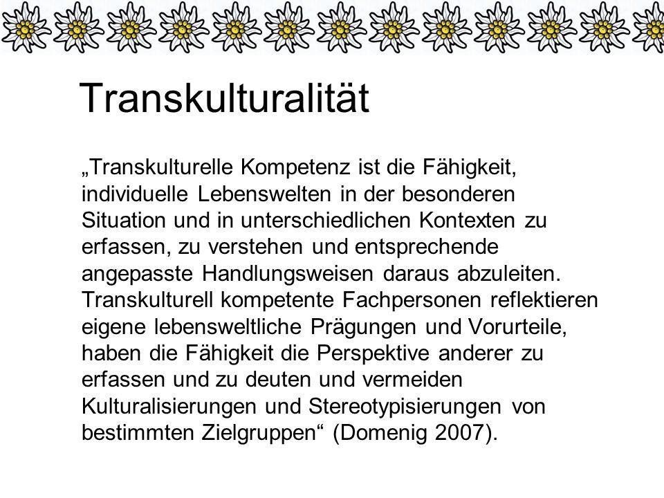 Transkulturalität Transkulturelle Kompetenz ist die Fähigkeit, individuelle Lebenswelten in der besonderen Situation und in unterschiedlichen Kontexten zu erfassen, zu verstehen und entsprechende angepasste Handlungsweisen daraus abzuleiten.