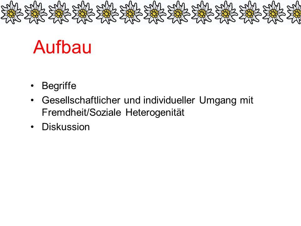 Aufbau Begriffe Gesellschaftlicher und individueller Umgang mit Fremdheit/Soziale Heterogenität Diskussion