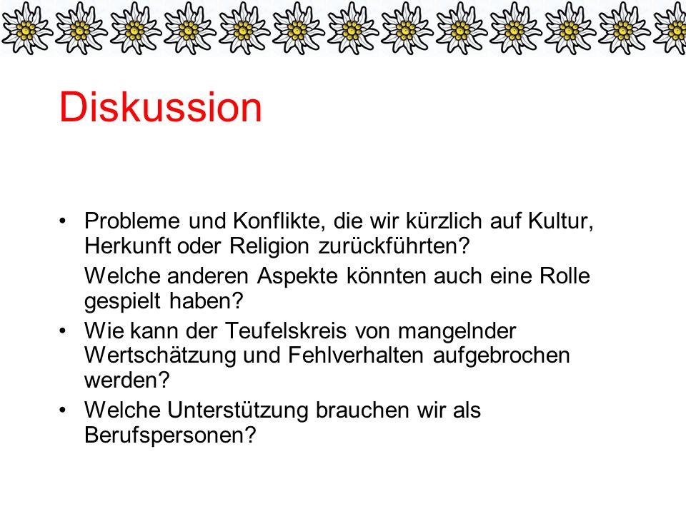 Diskussion Probleme und Konflikte, die wir kürzlich auf Kultur, Herkunft oder Religion zurückführten.
