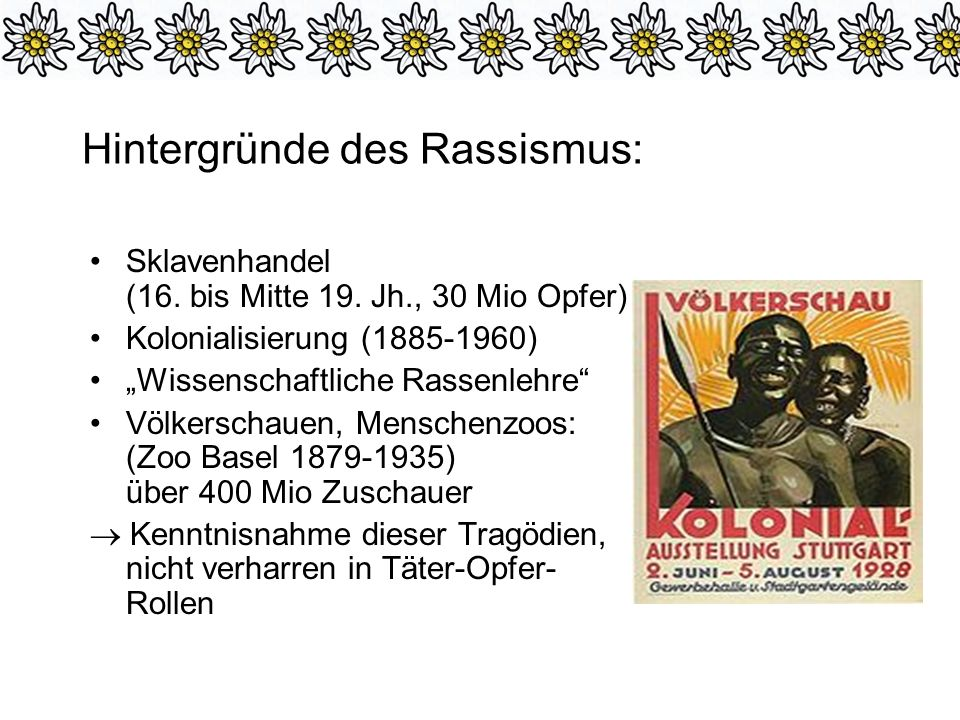 Hintergründe des Rassismus: Sklavenhandel (16.bis Mitte 19.