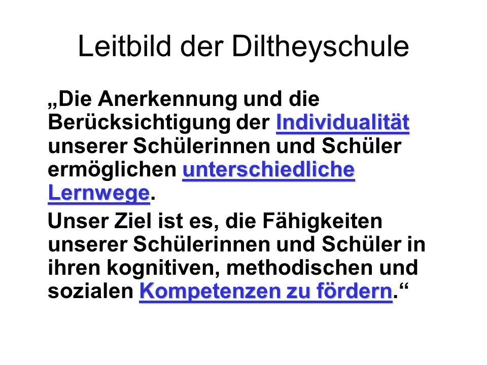 Leitbild der Diltheyschule Individualität unterschiedliche Lernwege Die Anerkennung und die Berücksichtigung der Individualität unserer Schülerinnen u