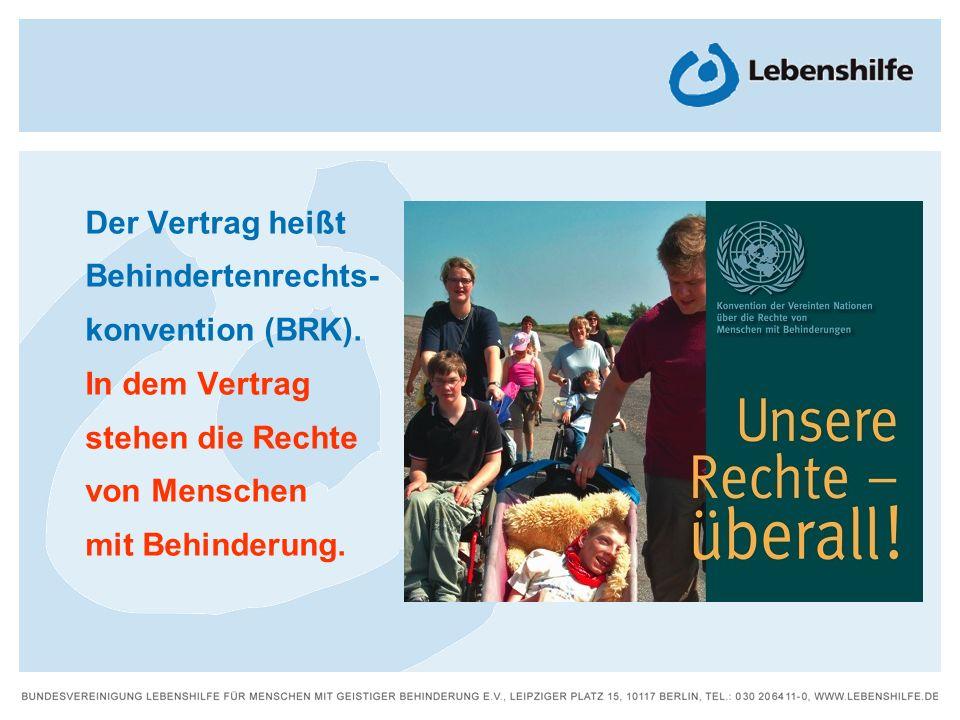 Der Vertrag heißt Behindertenrechts- konvention (BRK). In dem Vertrag stehen die Rechte von Menschen mit Behinderung.