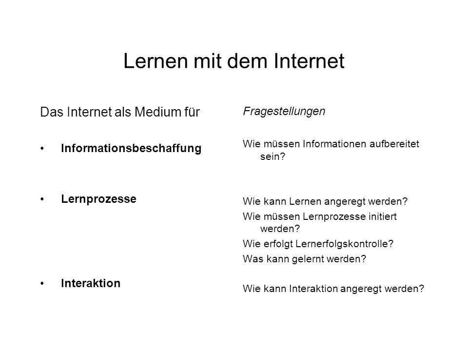 Lernen mit dem Internet Das Internet als Medium für Informationsbeschaffung Lernprozesse Interaktion Fragestellungen Wie müssen Informationen aufbereitet sein.