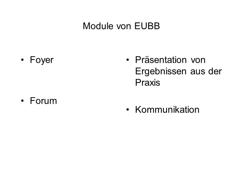Module von EUBB Foyer Forum Präsentation von Ergebnissen aus der Praxis Kommunikation