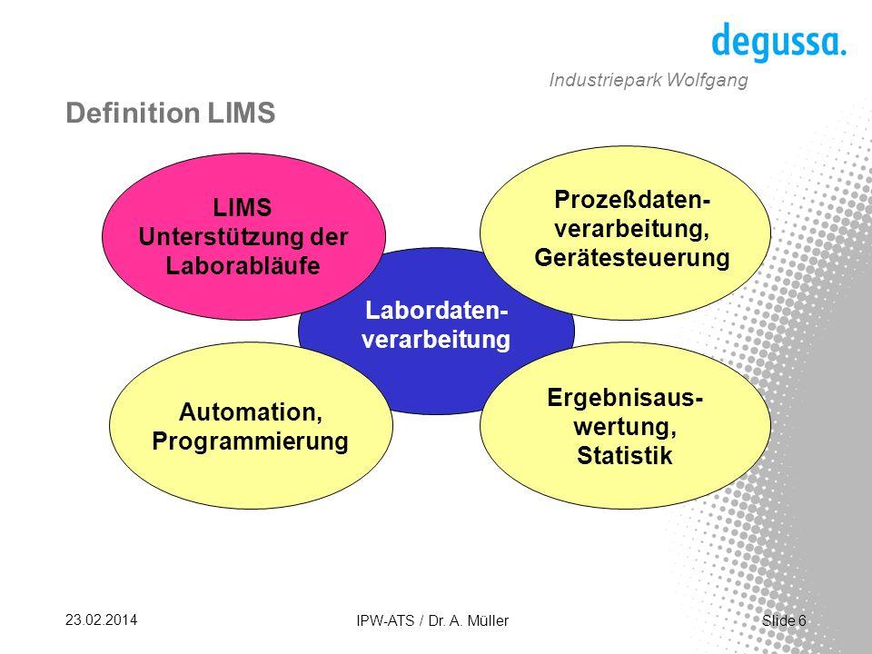 Slide 17 23.02.2014 IPW-ATS / Dr. A. Müller Industriepark Wolfgang